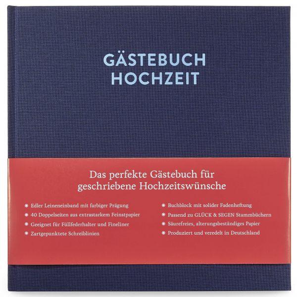 Gästebuch Frida Nachtblau mit 80 Seiten frontal mit Banderole