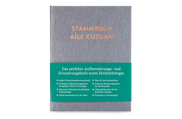 Stammbuch A5 Ayşe Silbergrau mit Prägung in türkischer Sprache frontal mit Banderole