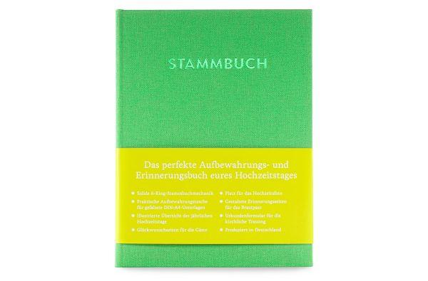 Stammbuch A5 Paul Saphirgrün frontal mit Banderole