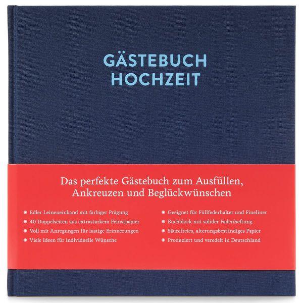 Gästebuch Sophie Nachtblau frontal mit Banderole