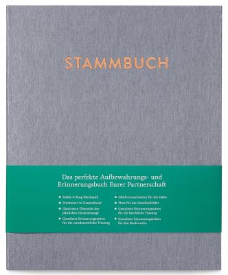 Stammbuch A4 Caspar Silbergrau frontal mit Banderole