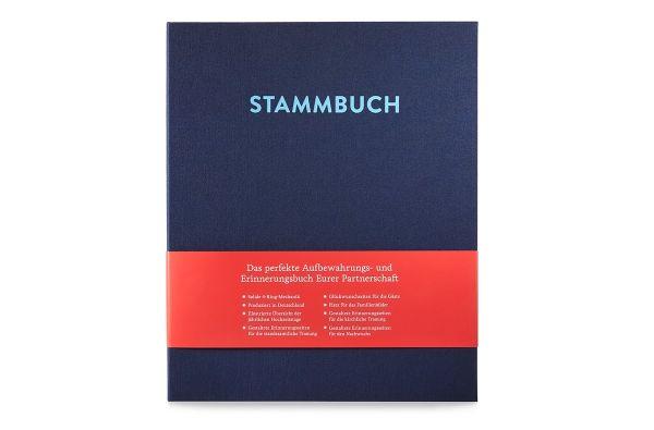 Stammbuch A4 Caspar Nachtblau frontal mit Banderole