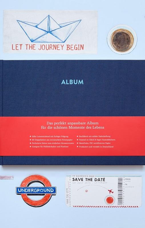 Album Pia Nachtblau mit Illustrationen eines Schiffes, Underground und Save the Date Karte