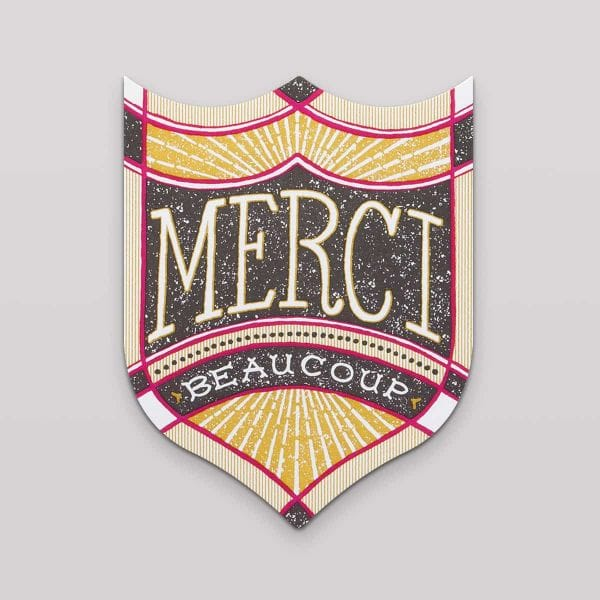 Hammerpress Grußkarte Merci Beaucoup Badge