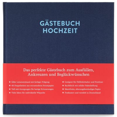 Hochzeitsgästebuch Sophie mit Ausfüllseiten Nachtblau