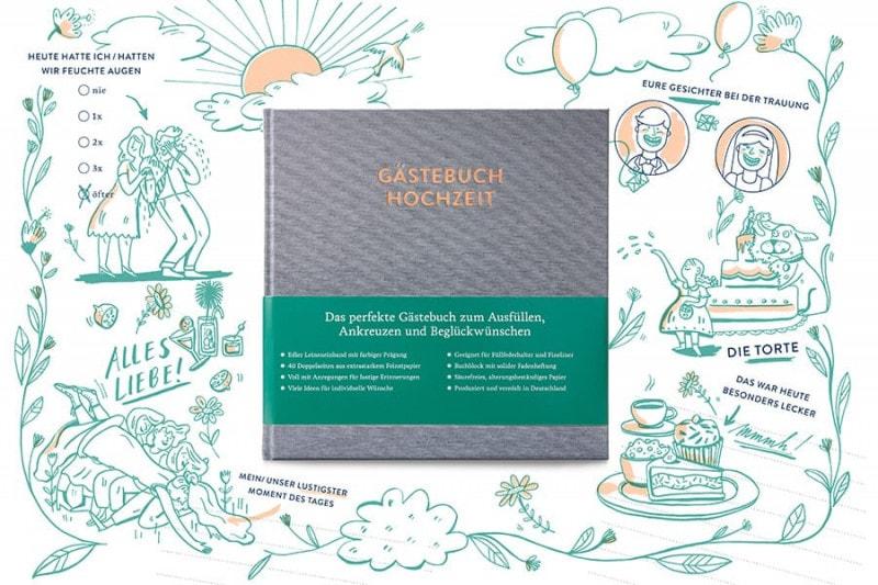 Gästebuch mit Ausfüllseiten Sophie in Silbergrau auf einer ausgefüllten Beispielseite, zum Beispiel »Heute hatten wir feuchte Augen«.
