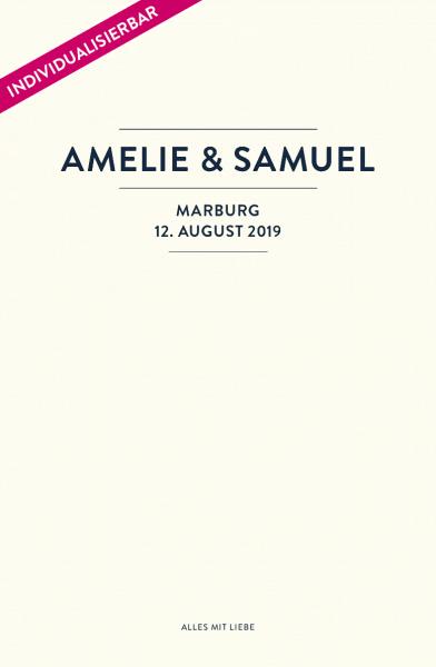 Individualiserte Seite im Design Nr. 1 für das Stammbuch Paul von Glück & Segen