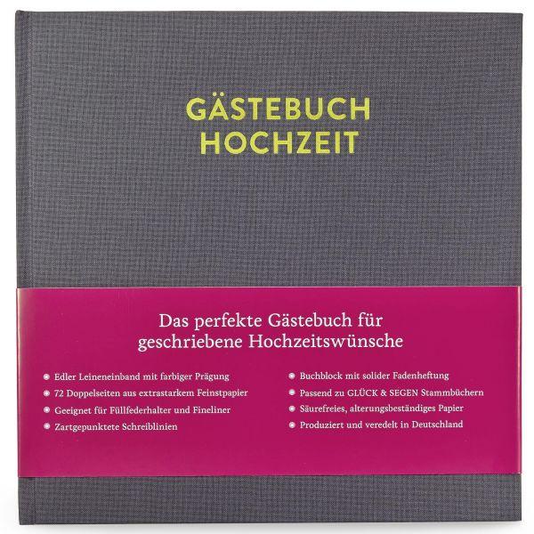Gästebuch Frida Platingrau mit 144 Seiten frontal mit Banderole