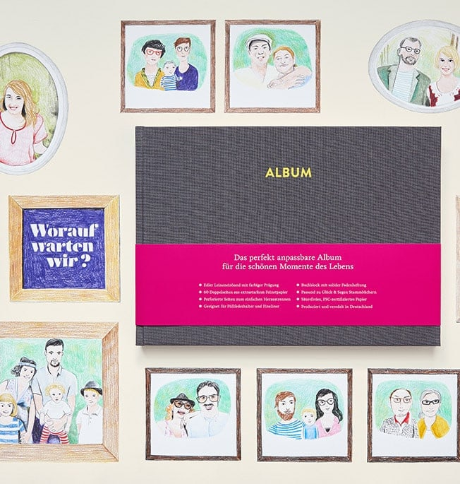 Album Pia Platingrau mit Illustrationen von Familien
