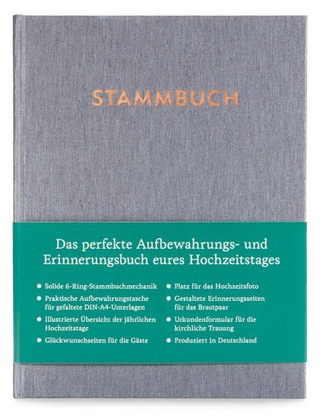 Stammbuch A5 Paul Silbergrau frontal mit Banderole