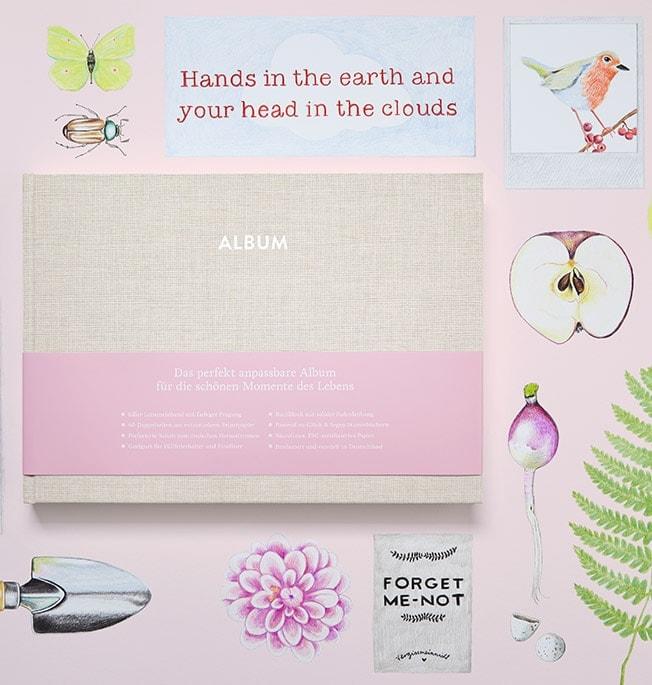 Album Hochzeit Pia Cremebeige mit Illustrationen von Apfel, Radieschen, Schäufelchen
