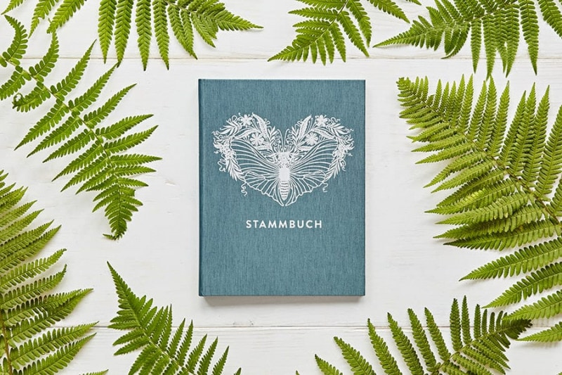 Ein Stammbuch Greta auf einer weißen Tischplatte mit illustrierten grünen Farnblättern.