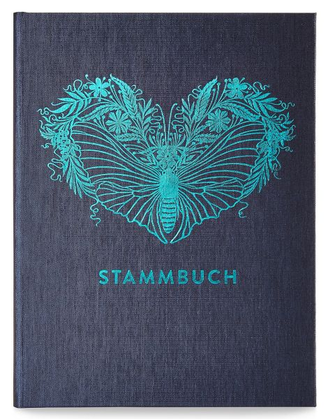 Stammbuch A5 Greta Oxfordblau Prägung Nachtfalter