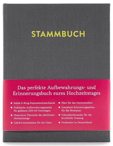 Stammbuch A5 Paul Platingrau frontal mit Banderole