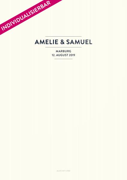 Individualiserte Seite im Design Nr. 1 für das Stammbuch Caspar von Glück & Segen