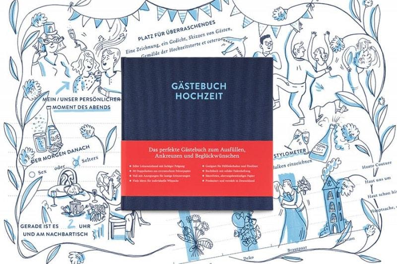 Gästebuch mit Ausfüllseiten Sophie in Nachtblau auf einer Illustration mit ausgefüllten Beispielseiten, zum Beispiel »Mein persönlicher Moment des Abends«.