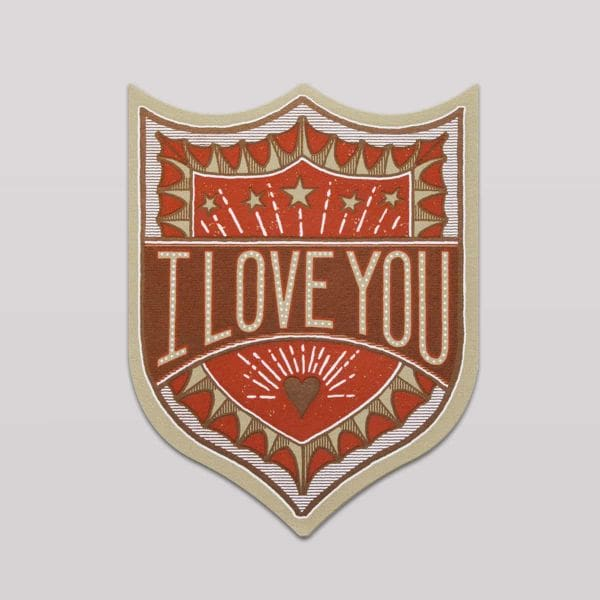 Hammerpress Grußkarte I Love You Badge