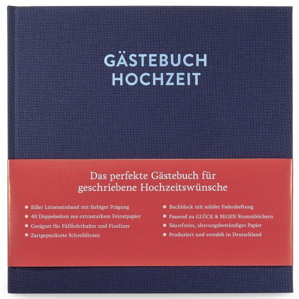 Gästebuch Frida Nachtblau mit 144 Seiten frontal mit Banderole