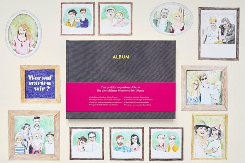 Album Pia in Platingrau auf einer Illustration mit gezeichneten Paaren.