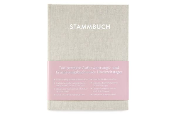 Stammbuch A5 Paul Cremebeige frontal mit Banderole