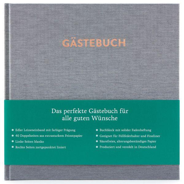 Gästebuch Hugo Silbergrau frontal mit Banderole