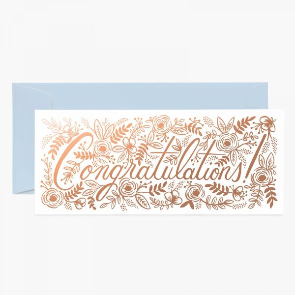 Rifle Paper Grußkarte Champagne Floral Congrats Long Card