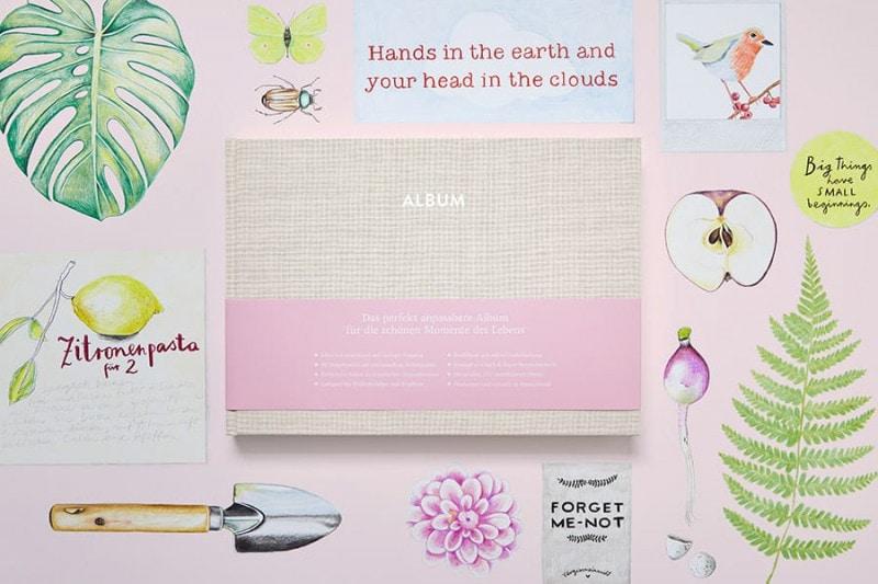Ein Album Pia in cremebeige auf einer Illustration mit einem Vogel, durchgeschnittenem Apfel, Farn, Radieschen und anderem.