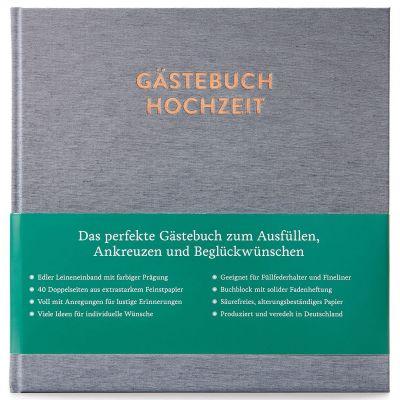 Hochzeitsgästebuch Sophie mit Ausfüllseiten Silbergrau