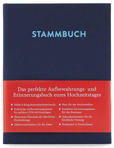 Stammbuch A5 Paul Nachtblau frontal mit Banderole
