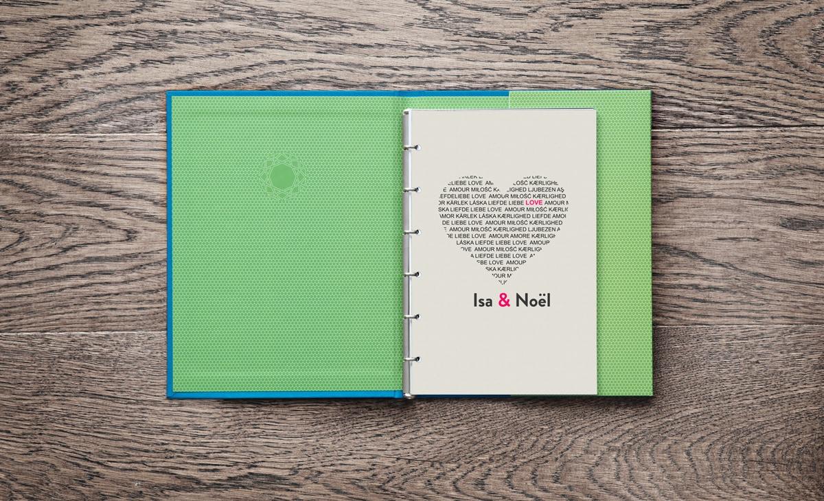 Personalisierte Seite für das Stammbuch Paul mit Herz und farbiger Individualisierung