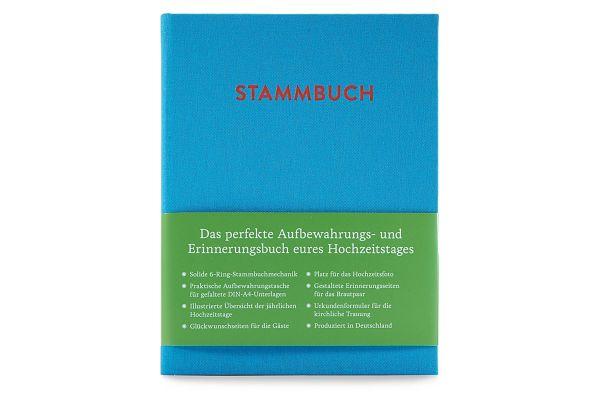 Stammbuch A5 Paul Azurblau frontal mit Banderole
