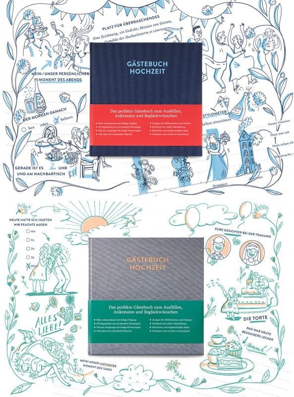 Gästebuch Sophie vor Beispielseiten als Hintergrund, zum Beispiel »Unser persönlicher Moment des Abends«.